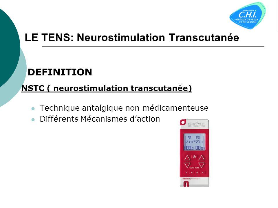 LE TENS: Neurostimulation Transcutanée DEFINITION NSTC ( neurostimulation transcutanée) Technique antalgique non médicamenteuse Différents Mécanismes daction