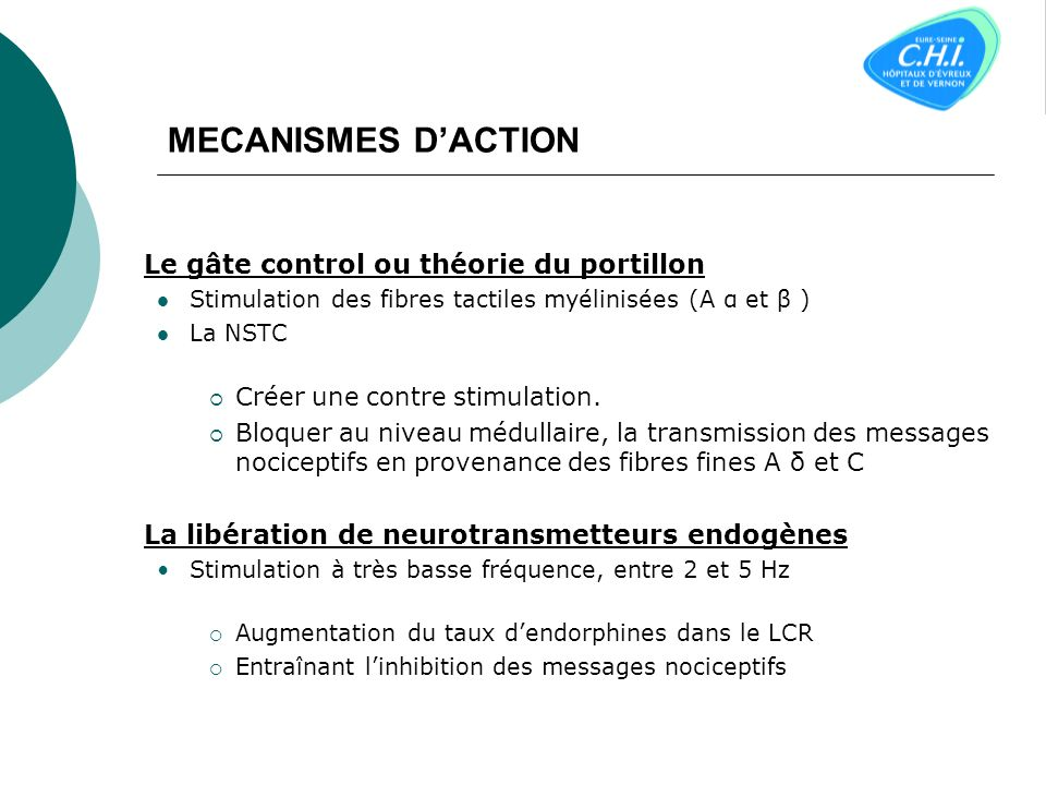 MECANISMES DACTION Le gâte control ou théorie du portillon Stimulation des fibres tactiles myélinisées (A α et β ) La NSTC Créer une contre stimulation.