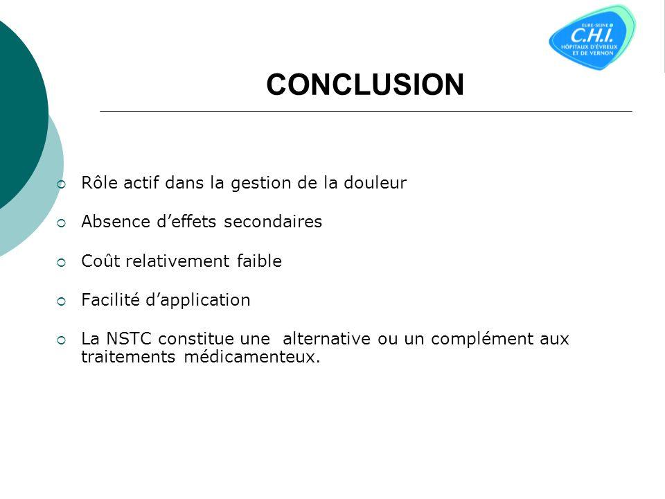Programmes 2 modalités dantalgie NSTC conventionnelleNSTC type acupuncture Condition de stimulation IntensitéBasseElévée SiteLoco-dolentiA distance fr