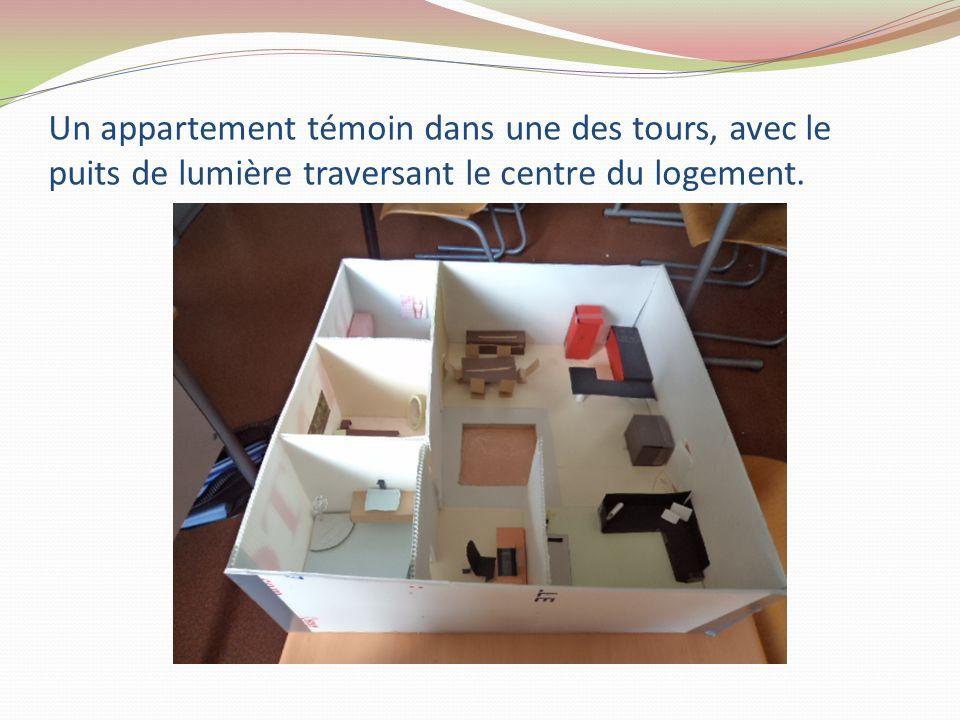 Un appartement témoin dans une des tours, avec le puits de lumière traversant le centre du logement.