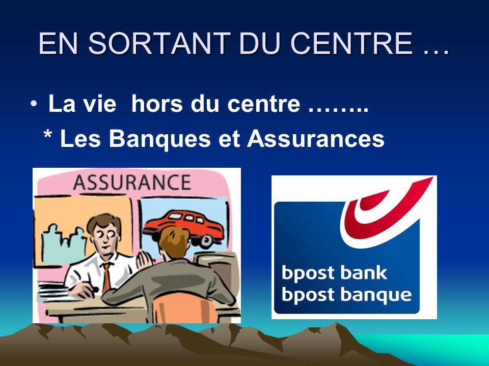 EN SORTANT DU CENTRE … La vie hors du centre …….. * Les Banques et Assurances