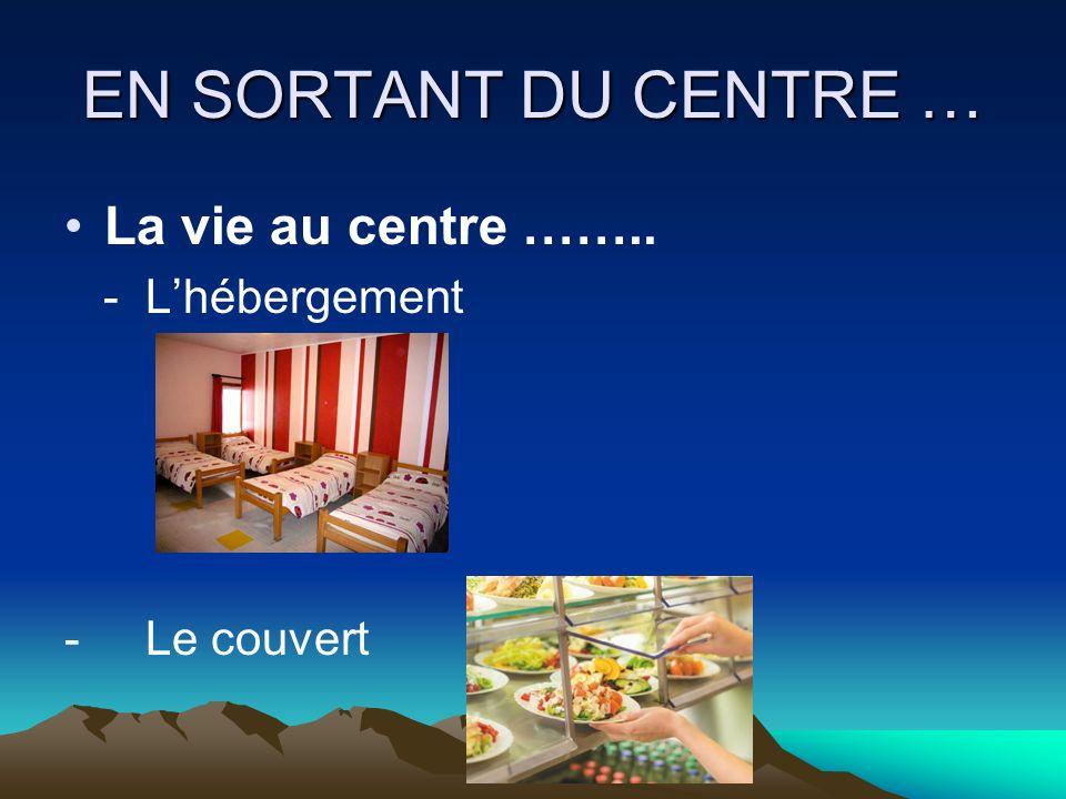 EN SORTANT DU CENTRE … La vie au centre …….. - Assistance médicale - Accompagnement social
