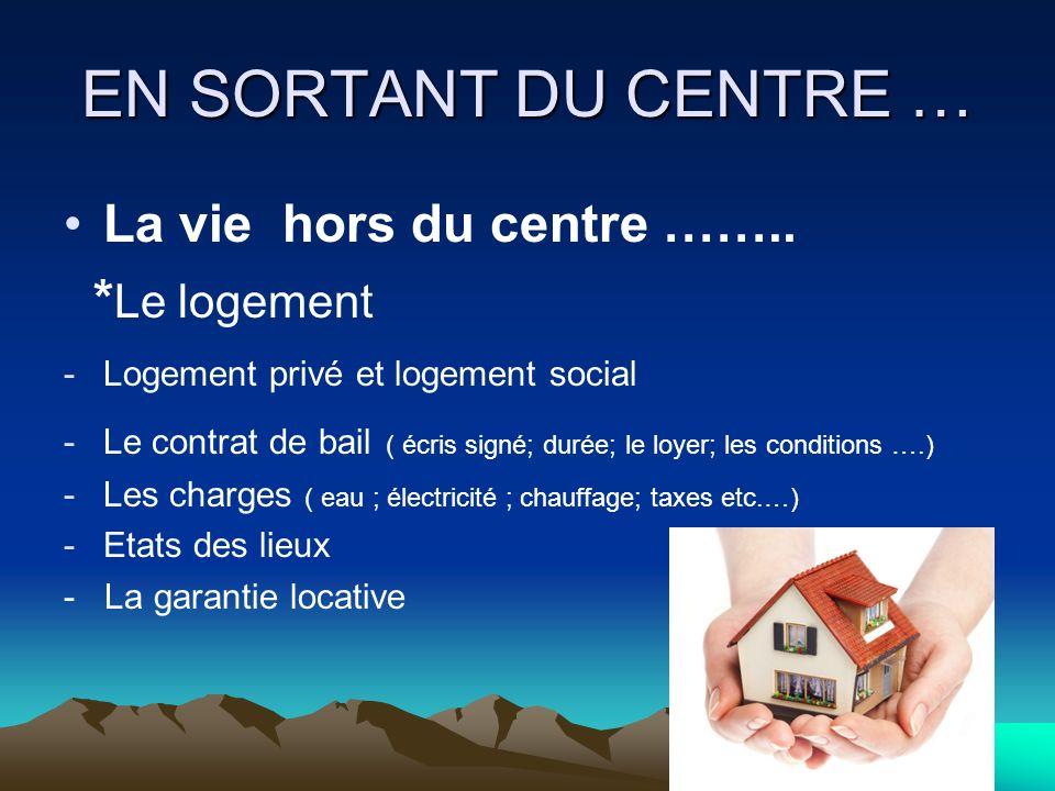 EN SORTANT DU CENTRE … La vie hors du centre ……..