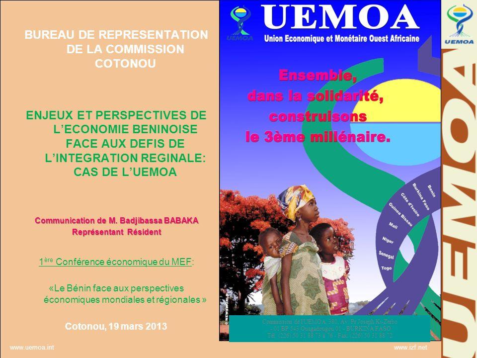 www.uemoa.int www.izf.net Organes de décision: la Commission Véritable Exécutif de lUnion; met en œuvre les décisions du Conseil, exécute le budget, définit les politiques et programmes.