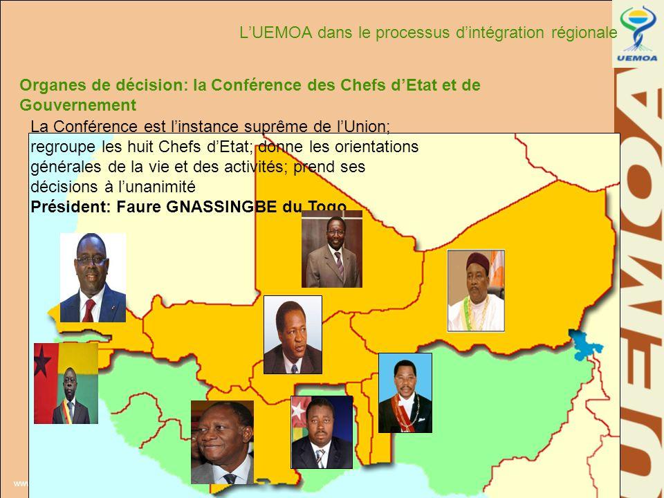 www.uemoa.int www.izf.net Organes de décision: la Conférence des Chefs dEtat et de Gouvernement La Conférence est linstance suprême de lUnion; regroup