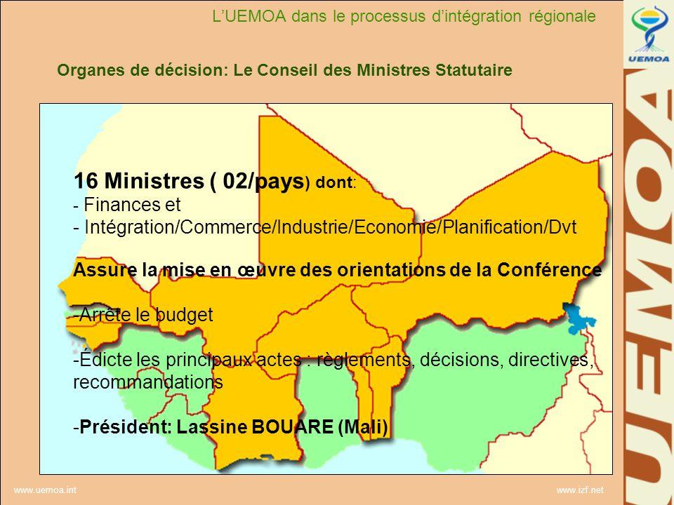 www.uemoa.int www.izf.net Organes de décision: Le Conseil des Ministres Statutaire 16 Ministres ( 02/pays ) dont: - Finances et - Intégration/Commerce
