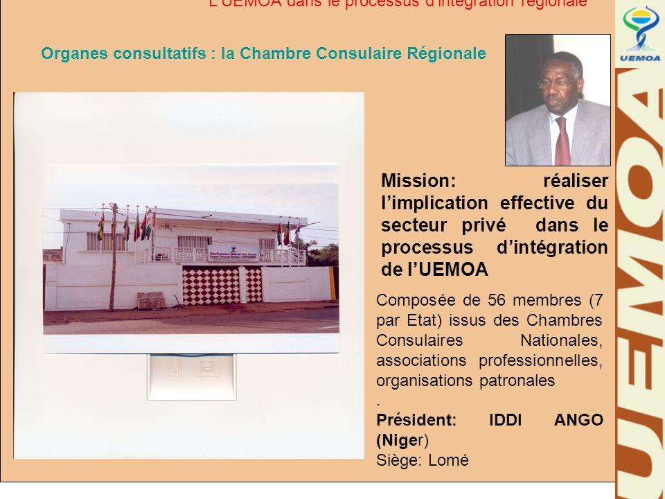 Organes consultatifs : la Chambre Consulaire Régionale Mission: réaliser limplication effective du secteur privé dans le processus dintégration de lUE