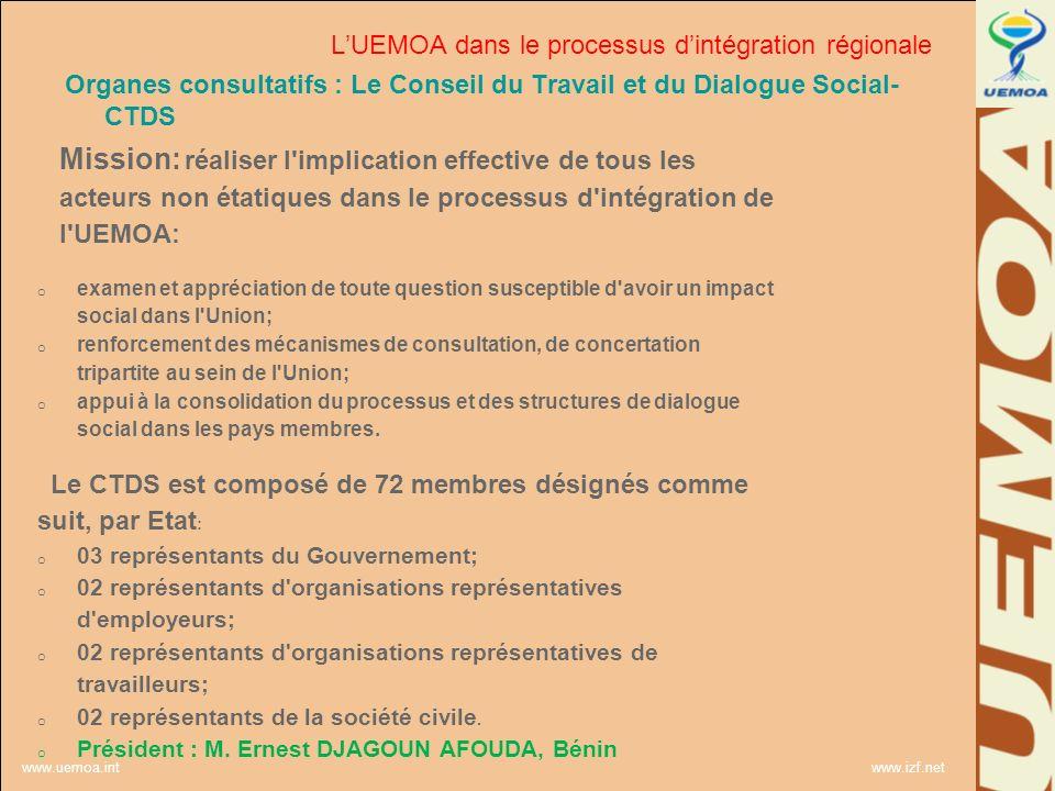 www.uemoa.int www.izf.net Organes consultatifs : Le Conseil du Travail et du Dialogue Social- CTDS Mission: réaliser l'implication effective de tous l