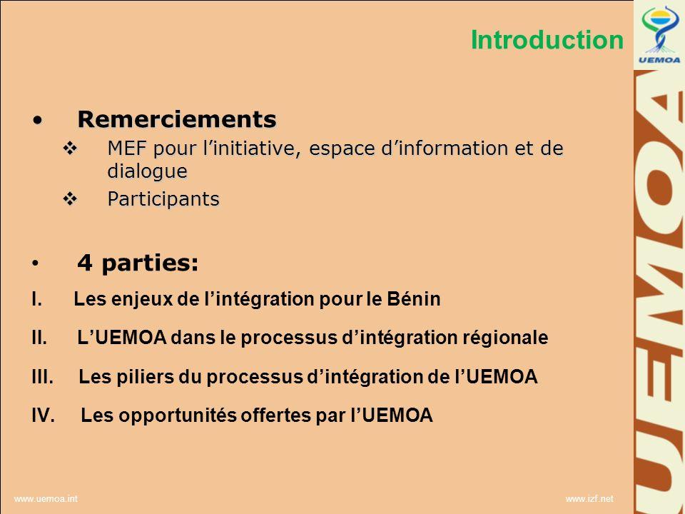 www.uemoa.int www.izf.net 1.Pourquoi adhérer à une organisation dintégration (le Bénin est il obligé?) Pas obligé; peut ne pas adhérer.