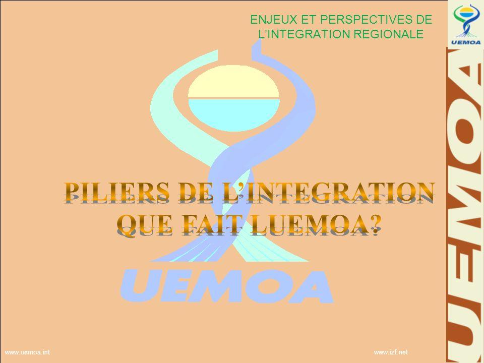www.uemoa.int www.izf.net ENJEUX ET PERSPECTIVES DE LINTEGRATION REGIONALE