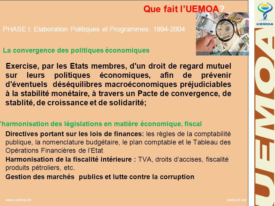 www.uemoa.int www.izf.net Que fait lUEMOA? La convergence des politiques économiques Exercise, par les Etats membres, d'un droit de regard mutuel sur