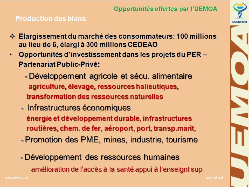 www.uemoa.int www.izf.net Opportunités offertes par lUEMOA Production des biens Elargissement du marché des consommateurs: 100 millions au lieu de 6,