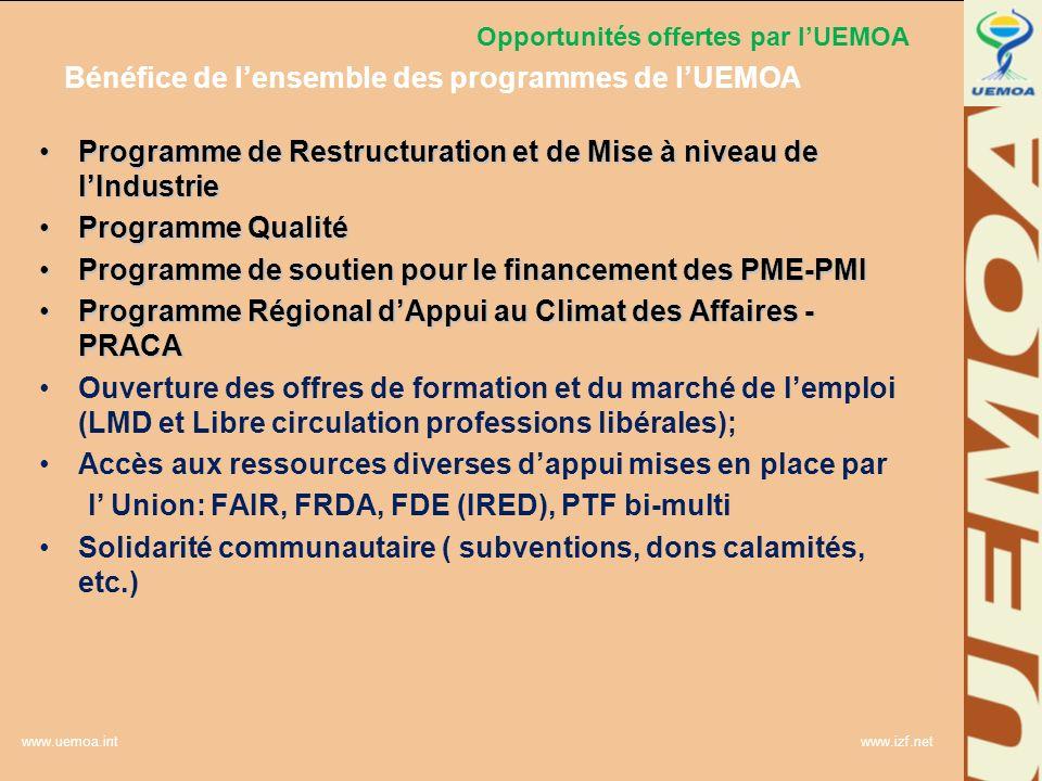 www.uemoa.int www.izf.net Opportunités offertes par lUEMOA Bénéfice de lensemble des programmes de lUEMOA Programme de Restructuration et de Mise à ni