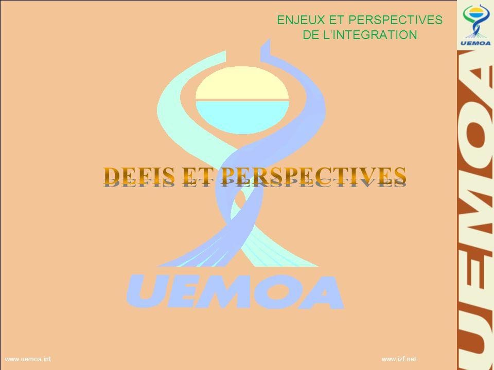 www.uemoa.int www.izf.net ENJEUX ET PERSPECTIVES DE LINTEGRATION