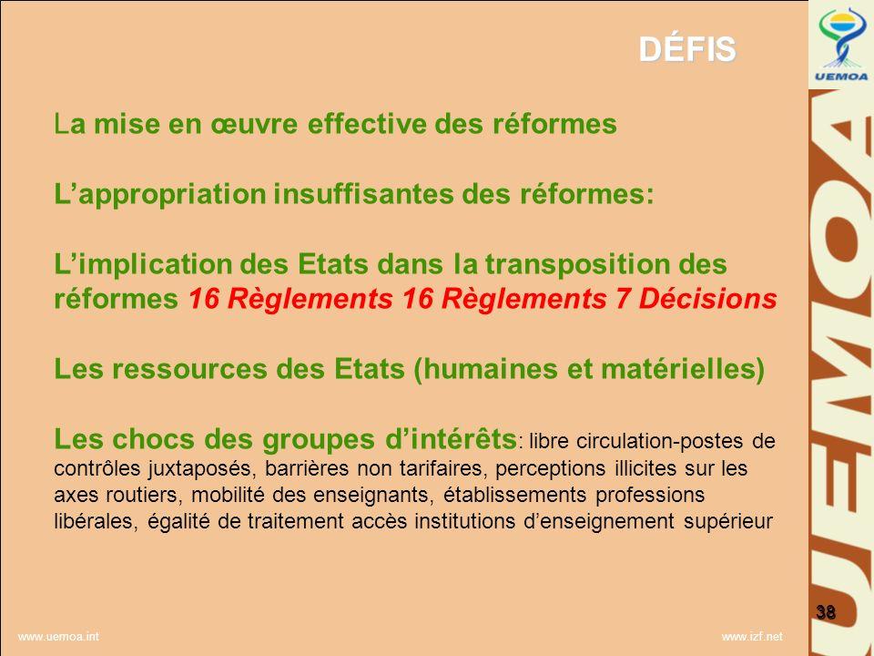 www.uemoa.int www.izf.net DÉFIS 38 La mise en œuvre effective des réformes Lappropriation insuffisantes des réformes: Limplication des Etats dans la t