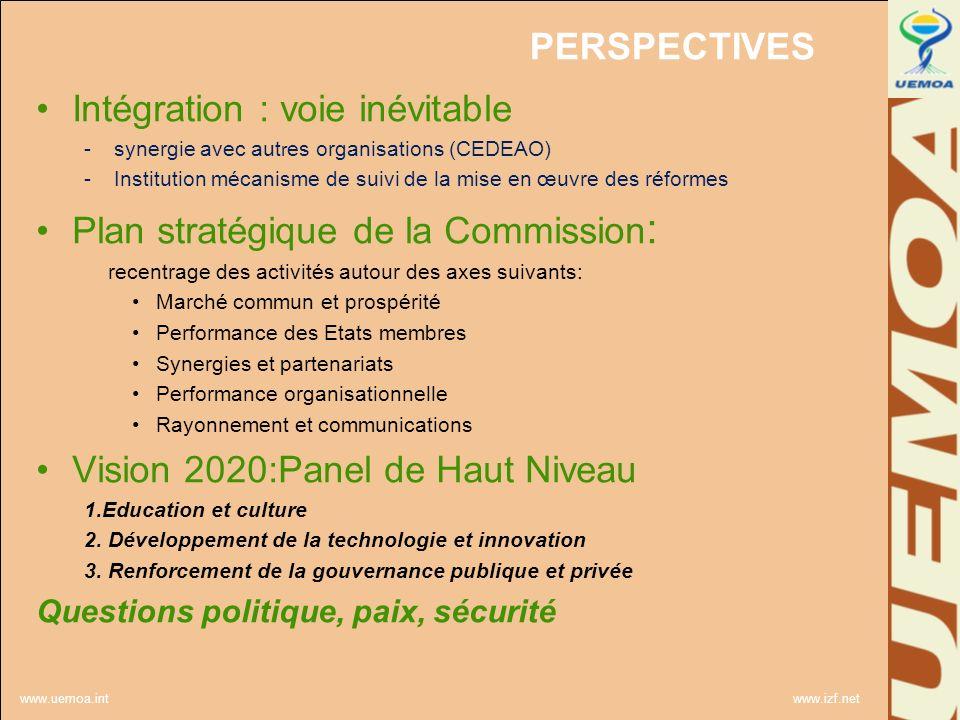 www.uemoa.int www.izf.net PERSPECTIVES Intégration : voie inévitable -synergie avec aut r es organisations (CEDEAO) -Institution mécanisme de suivi de