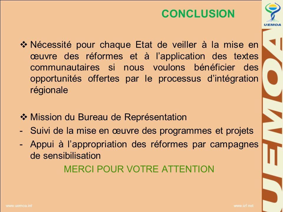 www.uemoa.int www.izf.net CONCLUSION Nécessité pour chaque Etat de veiller à la mise en œuvre des réformes et à lapplication des textes communautaires