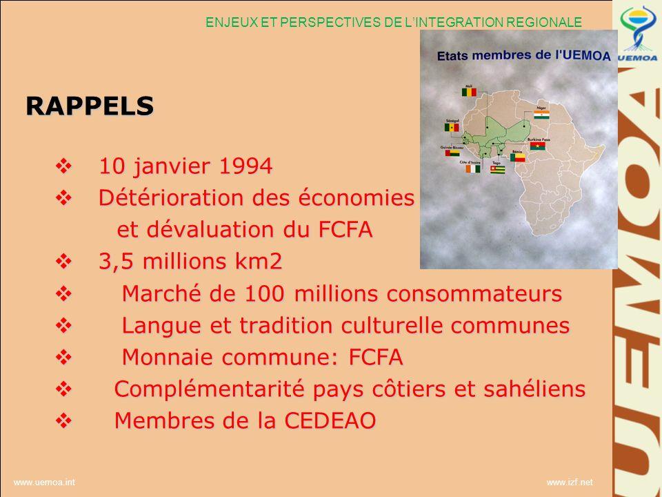 www.uemoa.int www.izf.net RAPPELS 10 janvier 1994 10 janvier 1994 Détérioration des économies Détérioration des économies et dévaluation du FCFA et dé