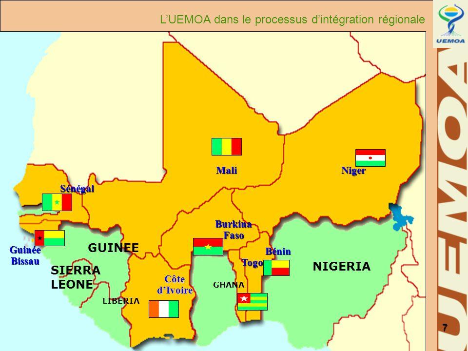 www.uemoa.int www.izf.net 7 Togo Bénin Burkina Faso Sénégal Mali Guinée Bissau Côte dIvoire Niger NIGERIA GHANA LIBERIA SIERRA LEONE GUINEE LUEMOA dan