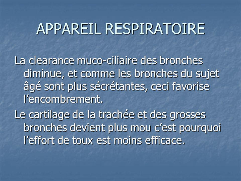 APPAREIL RESPIRATOIRE La clearance muco-ciliaire des bronches diminue, et comme les bronches du sujet âgé sont plus sécrétantes, ceci favorise lencombrement.