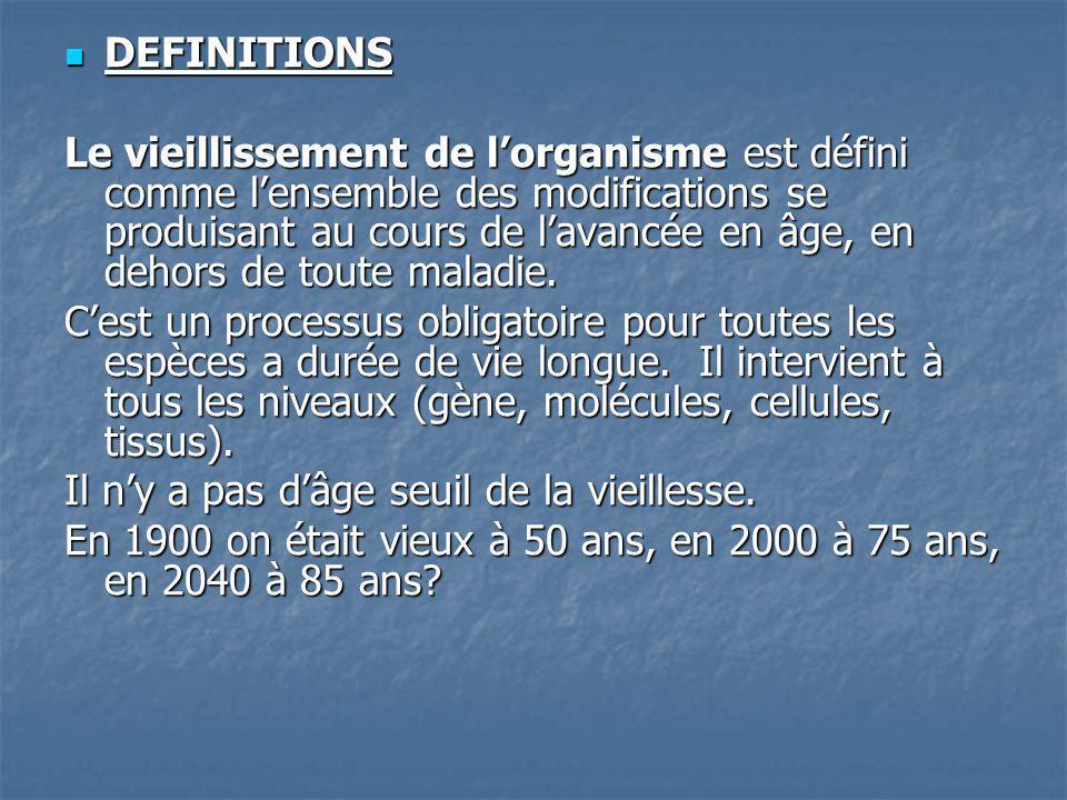 La longévité dune espèce est la durée de vie maximale potentielle (125- 130 ans pour lespèce humaine).