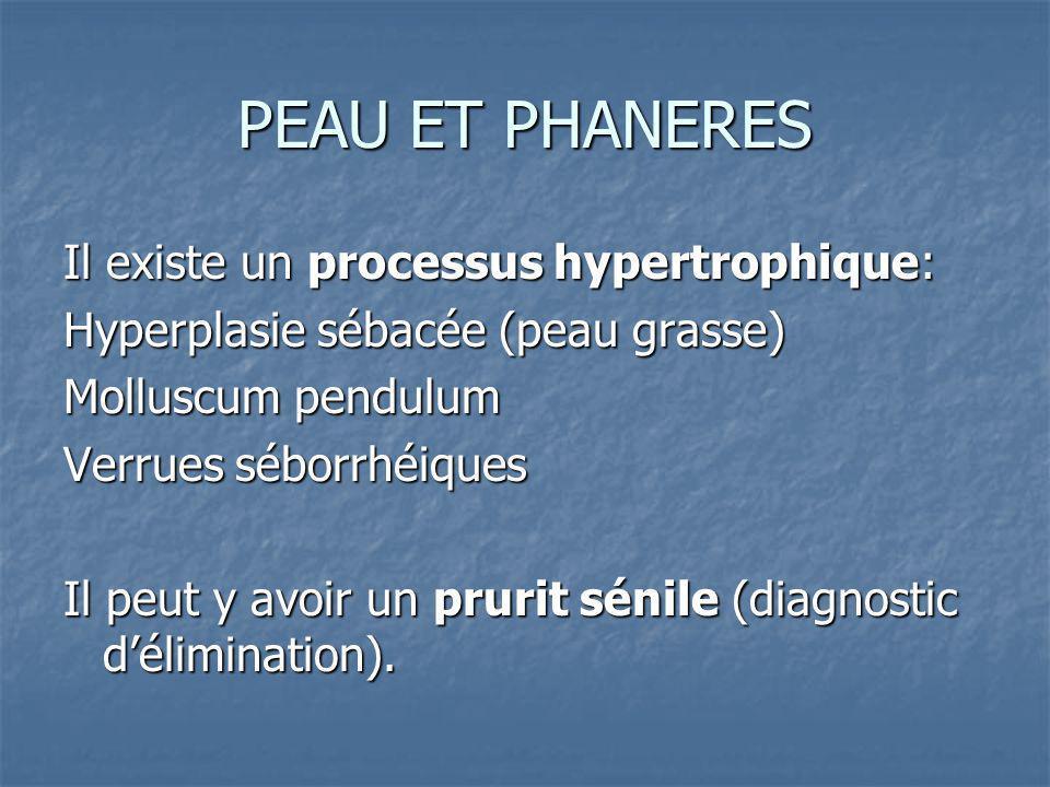 PEAU ET PHANERES Il existe un processus hypertrophique: Hyperplasie sébacée (peau grasse) Molluscum pendulum Verrues séborrhéiques Il peut y avoir un prurit sénile (diagnostic délimination).