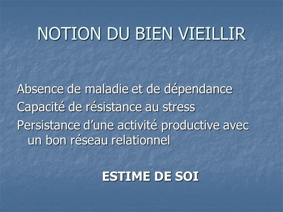 NOTION DU BIEN VIEILLIR Absence de maladie et de dépendance Capacité de résistance au stress Persistance dune activité productive avec un bon réseau relationnel ESTIME DE SOI