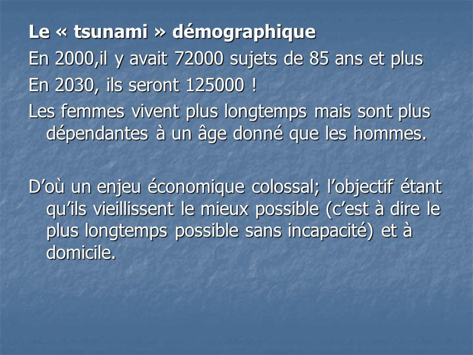 Le « tsunami » démographique En 2000,il y avait 72000 sujets de 85 ans et plus En 2030, ils seront 125000 .