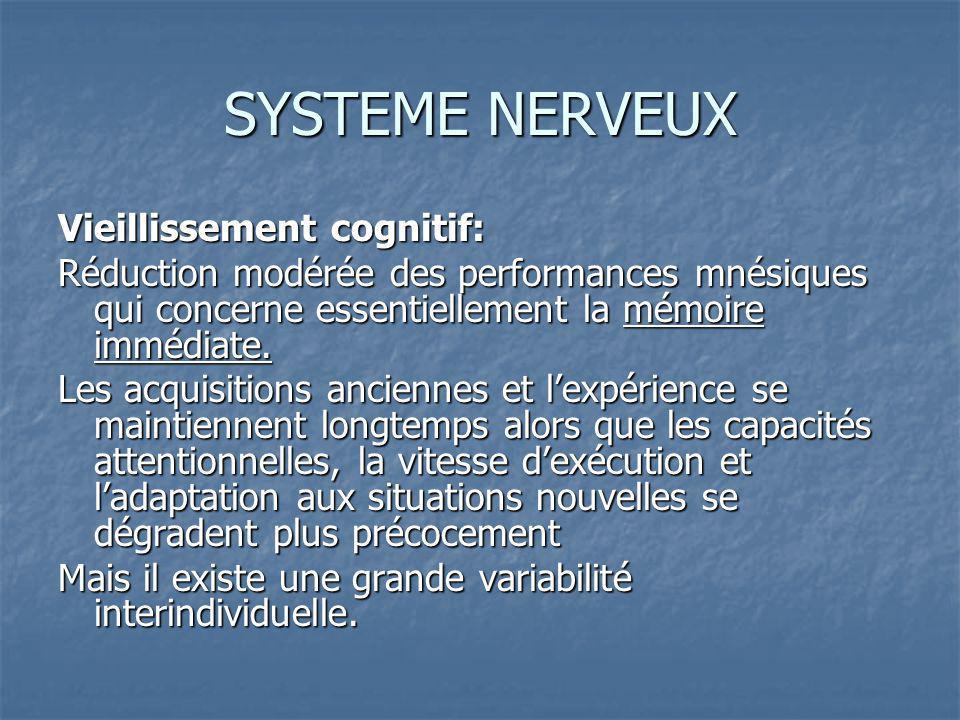 SYSTEME NERVEUX Vieillissement cognitif: Réduction modérée des performances mnésiques qui concerne essentiellement la mémoire immédiate.