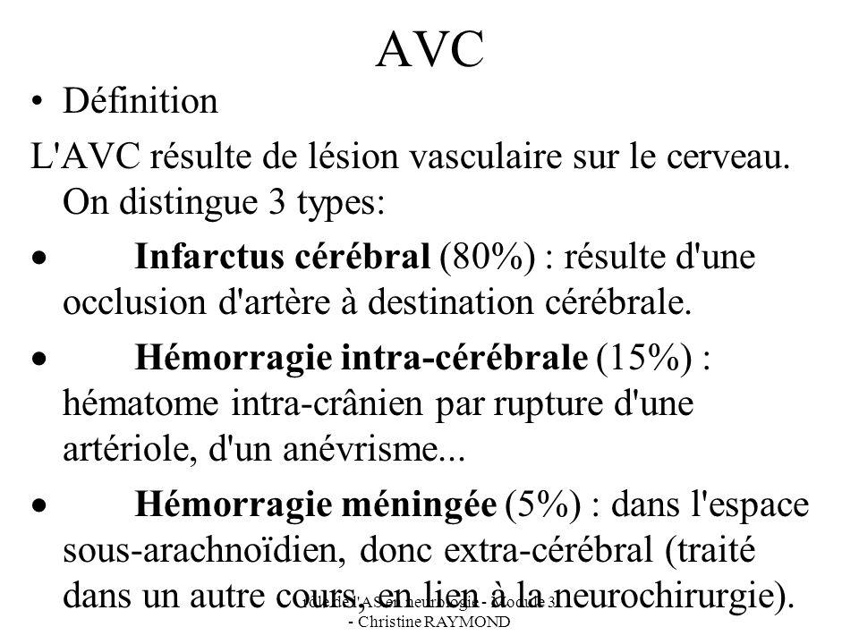 rôle de l AS en neurologie - Module 3 - Christine RAYMOND AVC Définition L AVC résulte de lésion vasculaire sur le cerveau.
