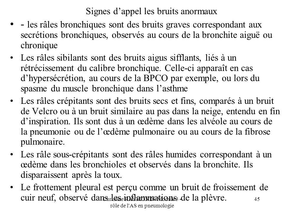 Christine RAYMOND - Module 3 - rôle de l AS en pneumologie 45 Signes dappel les bruits anormaux - les râles bronchiques sont des bruits graves correspondant aux secrétions bronchiques, observés au cours de la bronchite aiguë ou chronique Les râles sibilants sont des bruits aigus sifflants, liés à un rétrécissement du calibre bronchique.