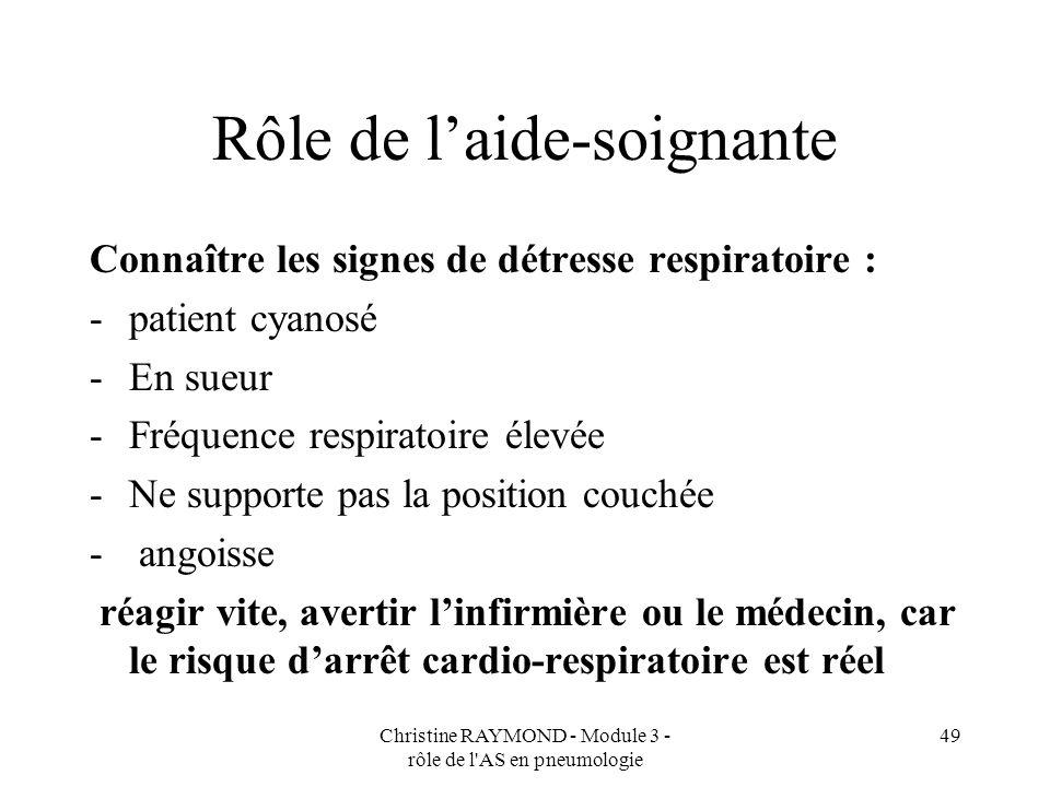 Christine RAYMOND - Module 3 - rôle de l AS en pneumologie 49 Rôle de laide-soignante Connaître les signes de détresse respiratoire : -patient cyanosé -En sueur -Fréquence respiratoire élevée -Ne supporte pas la position couchée - angoisse réagir vite, avertir linfirmière ou le médecin, car le risque darrêt cardio-respiratoire est réel