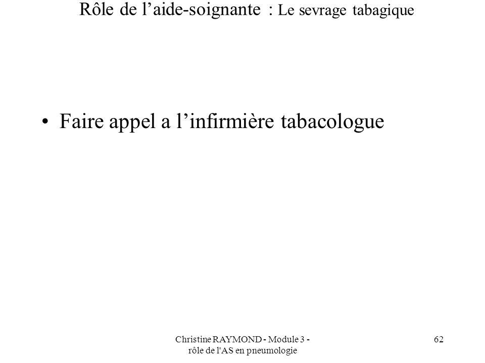 Christine RAYMOND - Module 3 - rôle de l AS en pneumologie 62 Rôle de laide-soignante : Le sevrage tabagique Faire appel a linfirmière tabacologue