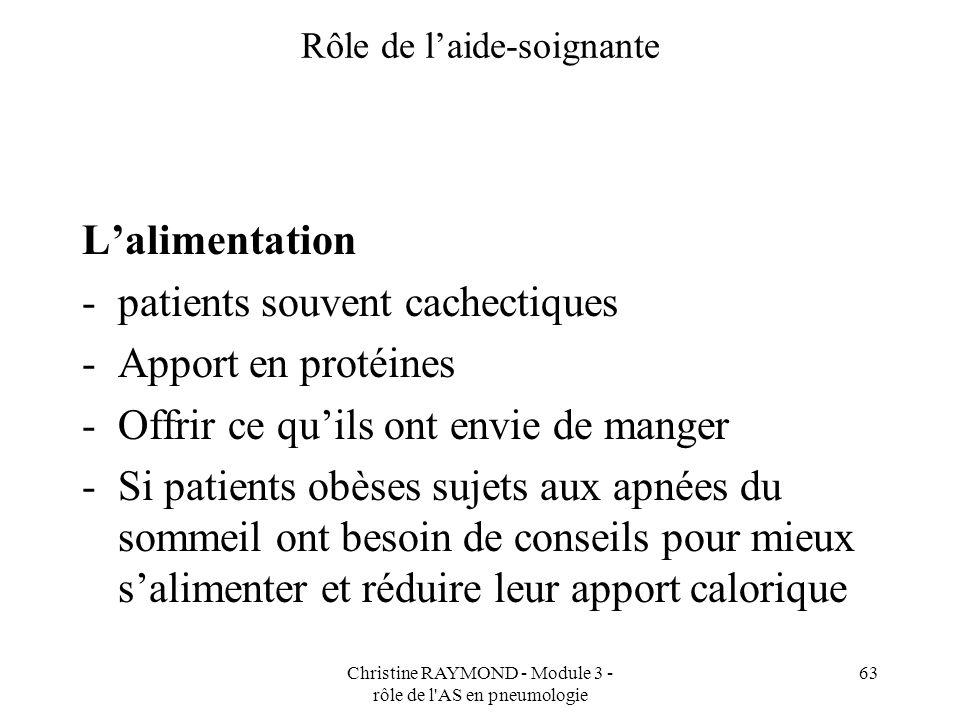Christine RAYMOND - Module 3 - rôle de l'AS en pneumologie 63 Rôle de laide-soignante Lalimentation -patients souvent cachectiques -Apport en protéine