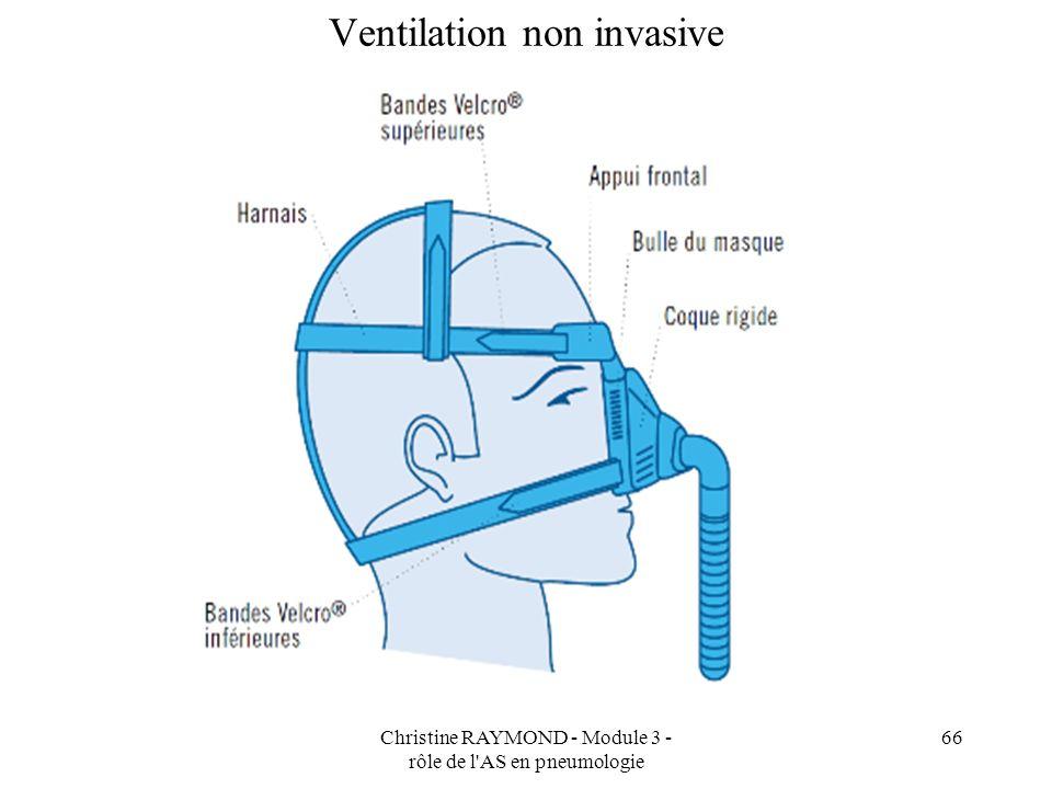 Christine RAYMOND - Module 3 - rôle de l AS en pneumologie 66 Ventilation non invasive