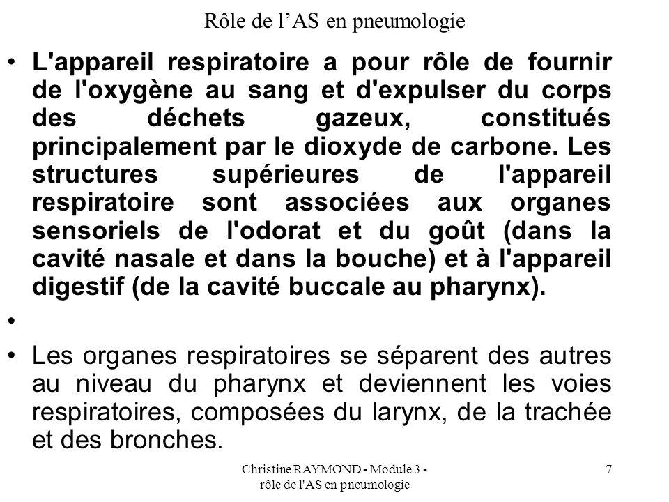 Christine RAYMOND - Module 3 - rôle de l AS en pneumologie 7 Rôle de lAS en pneumologie L appareil respiratoire a pour rôle de fournir de l oxygène au sang et d expulser du corps des déchets gazeux, constitués principalement par le dioxyde de carbone.