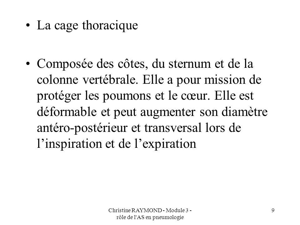 Christine RAYMOND - Module 3 - rôle de l'AS en pneumologie 9 La cage thoracique Composée des côtes, du sternum et de la colonne vertébrale. Elle a pou