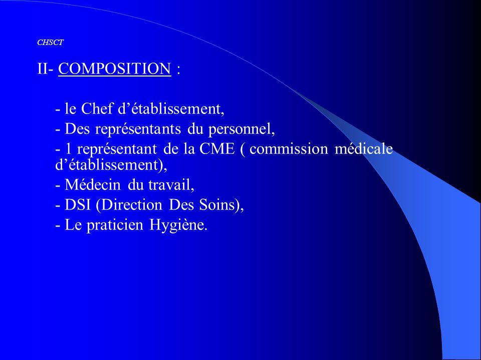 CHSCT II- COMPOSITION : - le Chef détablissement, - Des représentants du personnel, - 1 représentant de la CME ( commission médicale détablissement),