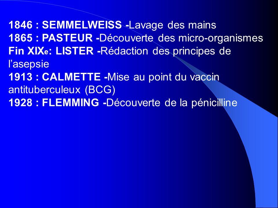 1846 : SEMMELWEISS -Lavage des mains 1865 : PASTEUR -Découverte des micro-organismes Fin XIX e : LISTER -Rédaction des principes de lasepsie 1913 : CA