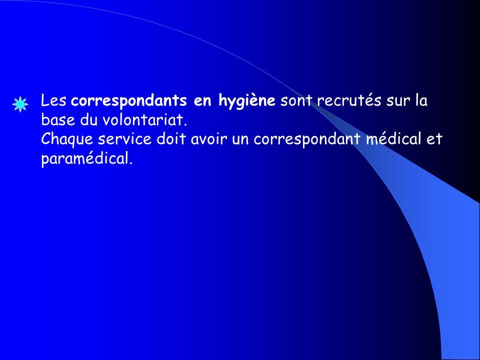 Les correspondants en hygiène sont recrutés sur la base du volontariat. Chaque service doit avoir un correspondant médical et paramédical.