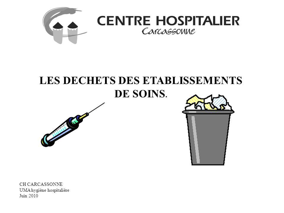 LES DECHETS DES ETABLISSEMENTS DE SOINS. CH CARCASSONNE UMA hygiène hospitalière Juin 2010