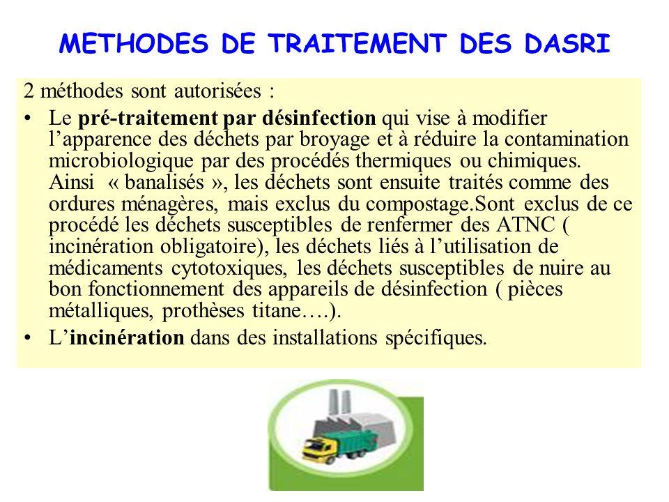 METHODES DE TRAITEMENT DES DASRI 2 méthodes sont autorisées : Le pré-traitement par désinfection qui vise à modifier lapparence des déchets par broyag