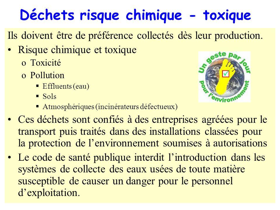 Déchets risque chimique - toxique Ils doivent être de préférence collectés dès leur production. Risque chimique et toxique oToxicité oPollution Efflue