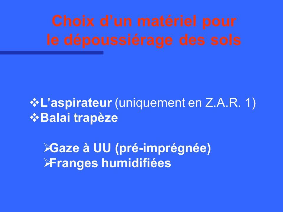 Laspirateur (uniquement en Z.A.R. 1) Balai trapèze Gaze à UU (pré-imprégnée) Franges humidifiées Choix dun matériel pour le dépoussiérage des sols