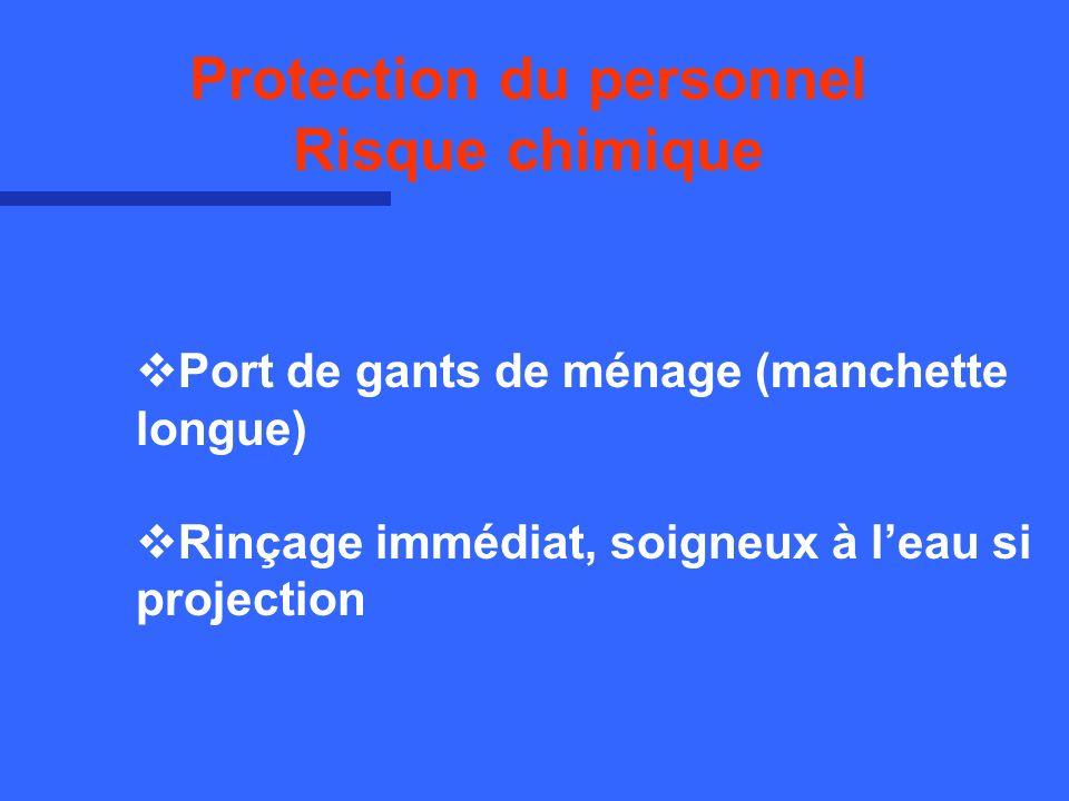 Port de gants de ménage (manchette longue) Rinçage immédiat, soigneux à leau si projection Protection du personnel Risque chimique