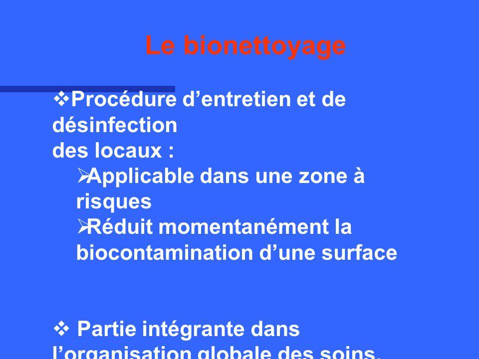 Le bionettoyage est obtenu par la combinaison de 3 éléments indispensables : Le nettoyage Lélimination des salissures Lapplication dun désinfectant Principe du Bionettoyage