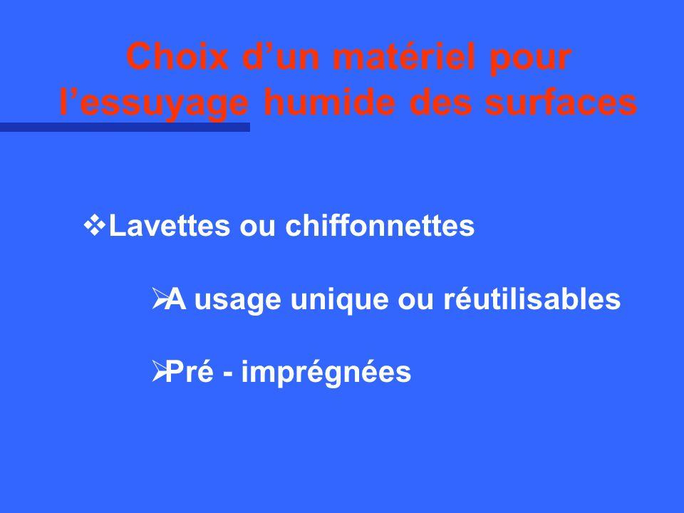 Lavettes ou chiffonnettes A usage unique ou réutilisables Pré - imprégnées Choix dun matériel pour lessuyage humide des surfaces