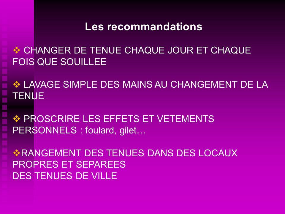 Les recommandations CHANGER DE TENUE CHAQUE JOUR ET CHAQUE FOIS QUE SOUILLEE LAVAGE SIMPLE DES MAINS AU CHANGEMENT DE LA TENUE PROSCRIRE LES EFFETS ET