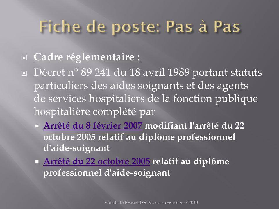 Cadre réglementaire : Décret n° 89 241 du 18 avril 1989 portant statuts particuliers des aides soignants et des agents de services hospitaliers de la fonction publique hospitalière complété par Arrêté du 8 février 2007 modifiant l arrêté du 22 octobre 2005 relatif au diplôme professionnel d aide-soignant Arrêté du 8 février 2007 Arrêté du 22 octobre 2005 relatif au diplôme professionnel d aide-soignant Arrêté du 22 octobre 2005 Elizabeth Brunet IFSI Carcassonne 6 mai 2010