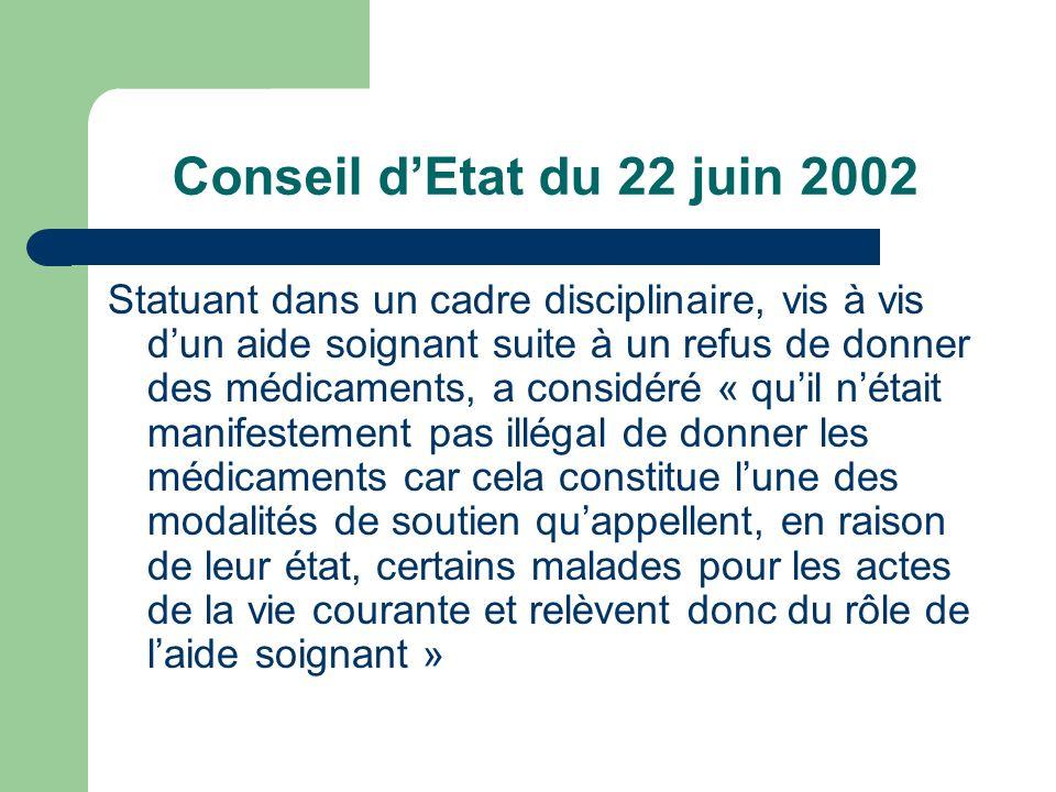 Conseil dEtat du 22 juin 2002 Statuant dans un cadre disciplinaire, vis à vis dun aide soignant suite à un refus de donner des médicaments, a considér